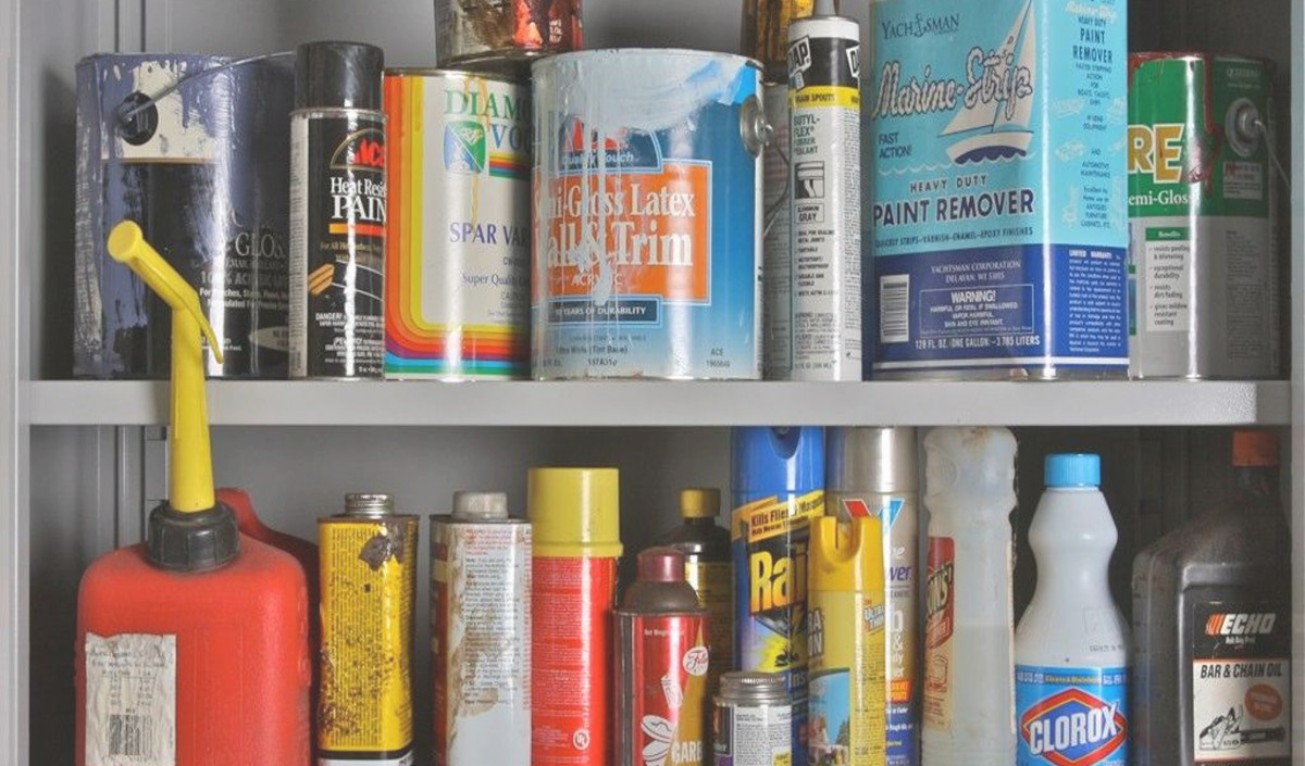 Picture of examples of toxic waste including paints and household cleaners