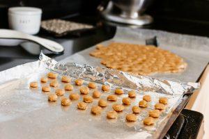 Baked dog treats on a baking pan